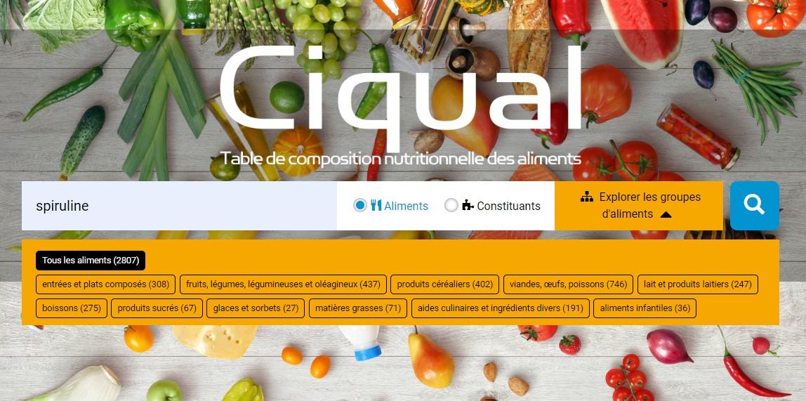 Recherche par aliment sur la table CIQUAL