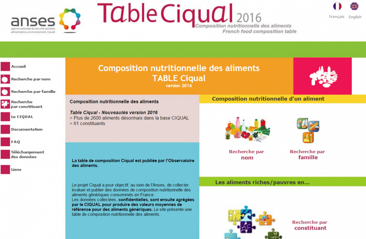 Nouvelle table CIQUAL