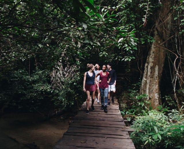 Marche digestive en forêt entre amis